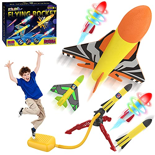 Garden Outdoor Games Toys for Kids, Space Jump Rocket Launcher for...