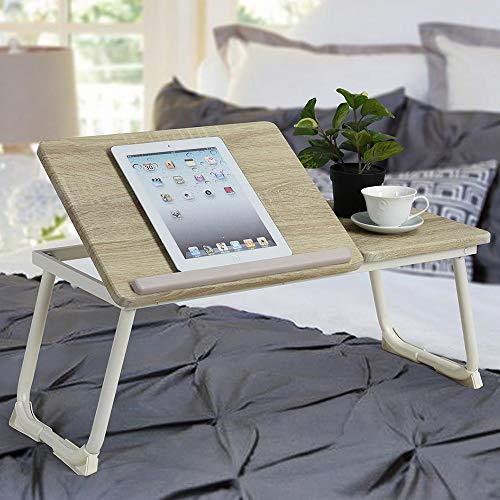 BAKAJI Tavolino Vassoio Colazione da Letto Divano Tavolo Porta Tablet Notebook PC Laptop Struttura in Metallo Pieghevole Leggio Piano in Legno Inclinabile Dimensione 65 x 30 cm (Beige)