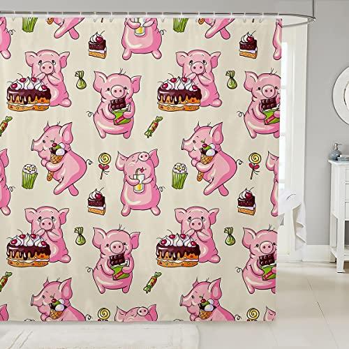 Loussiesd Nettes Schwein Duschvorhang Textil Karikatur Tier Thema Duschvorhang 180x180cm Kuchen Schokolade Kinder Erwachsene Süßes Essen Raumdekor