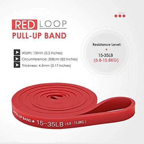TOPELEK Resistance Bands, Assisted Pull Up Stretch Bands | Fitness Exercise Bands |Workout Strap for Men Women, Gym Bands for Powerlifting - Yoga - Pilates- Strength Weight - Cross Fit (Red)