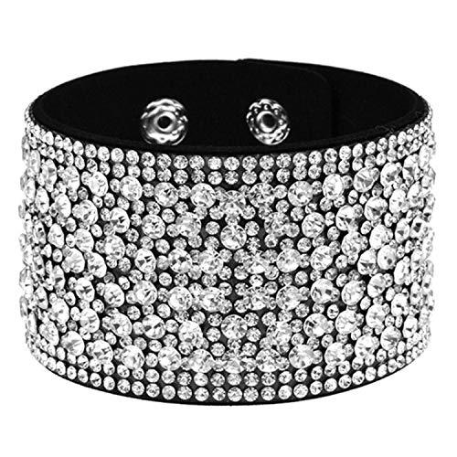 Pulsera Brazalete, Joyeria Regalo, Leather Rhinestones Wide Bracelets&Bangles Women Girls Handmade Men Charms Bracelet Wristband Party Jewelry Gift A