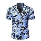 HDDNZH Camicia Hawaiana da Uomo - 3 Colori Palm Tree Plant Stampa Camicie Aloha A Manica Corta, Funky Lapel Quick Dry Top Summer Bohemia Blouse per Unisex Holiday Party Clothes, Blu,M