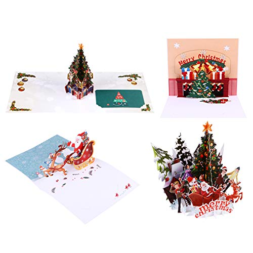 MILISTEN 4pcs Christmas Greeting Cards Paper Pop Up Card 3D Invitation Card Blessing Cards Gift Cards for Christmas Party Holiday Birthday Wedding Anniversary