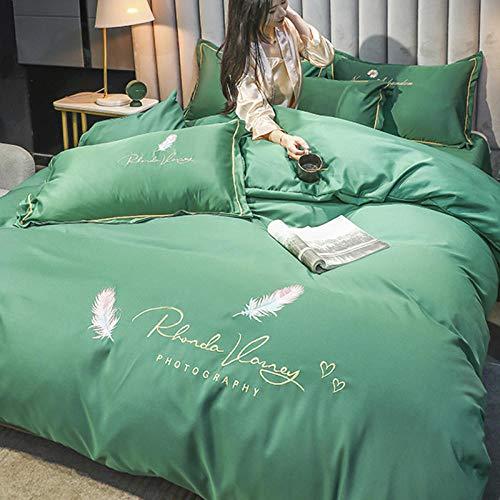 Edredón de Forro Polar para Cama Individual,La seda de lavado con agua de seda de hielo de cuatro piezas de boda es un juego de cama de bordado ropa de cama individual-norte_Cama de 1,8 m (4 piezas)