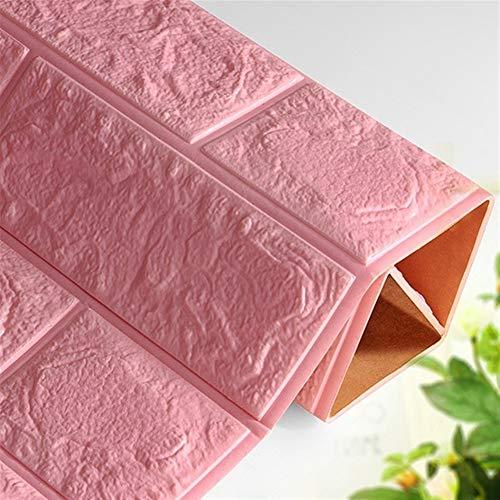 Behang 3D Baksteen Muurstickers Overleven Waterdichte Schuim Kamer Slaapkamer DIY Zelfklevende Behang Art 60 * 30 * 0,8 Cm Huis Muurstickers behang pasta 60x30 cm roze