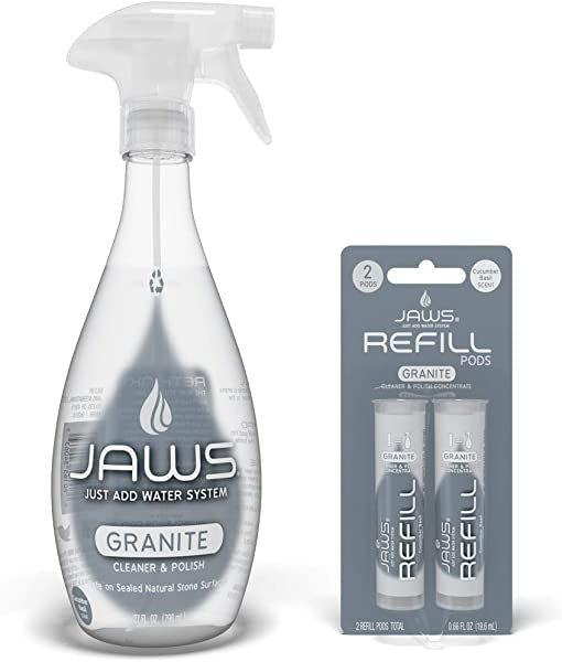 JAWS Granite Cleaner Polish Bottle With 2 Refill Pods Non Toxic And Eco Friendly Cleaning Products Refill And Reuse