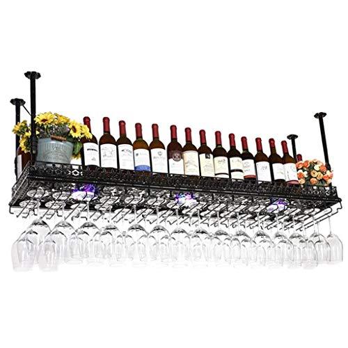 Wine Rack Wine Organizer Rack Ceiling Wine Racks Hanging Wine Glass Holder Wall Mounted Goblet Bar Counter Hanging Cup Holder for Bars Restaurants Kitchens ( Color : Black , Size : 150cm*35cm )