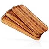 11.8 Inch Solid Wood Serving Platters and Trays Set of 3 Highly Durable Dishwasher Safe Rectangular Party Plates Avoid Sliding and Spilling Food with Easy Carry Grooved Handle Design