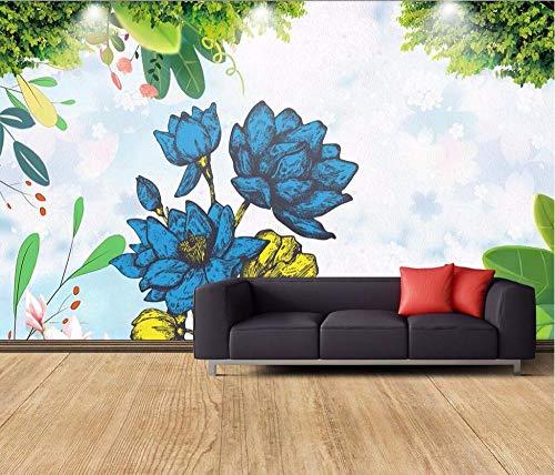 Wandscherm, papierbehang, personaliseerbaar, tuindecoratie, bloemen, handgeschilderd en verse vogels 250 x 175 cm.