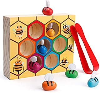 Mumoo Bear Toddler Fine Motor Skill Toy, Clamp Bee to Hive Matching Game, Montessori Wooden Color Sorting Puzzle