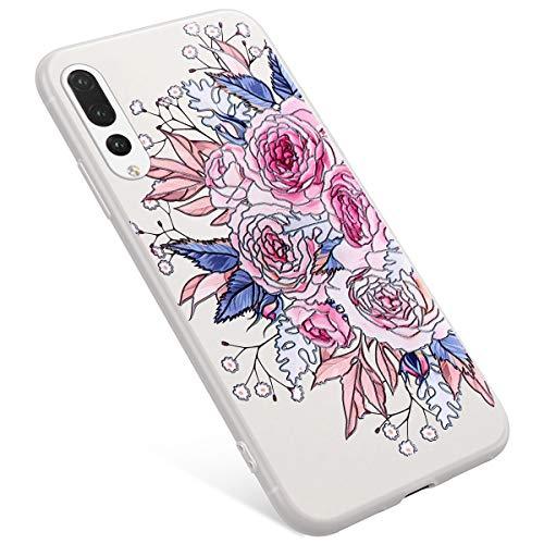 Uposao Coque Compatible avec Huawei P20 Pro Coque Matte Etui Premium Semi Transparent Motif Rose Fleur Soft TPU Silicone Coque Anti-Choc Bumper Ultra Mince Hybrid Slim Case Coque Huawei P20 Pro