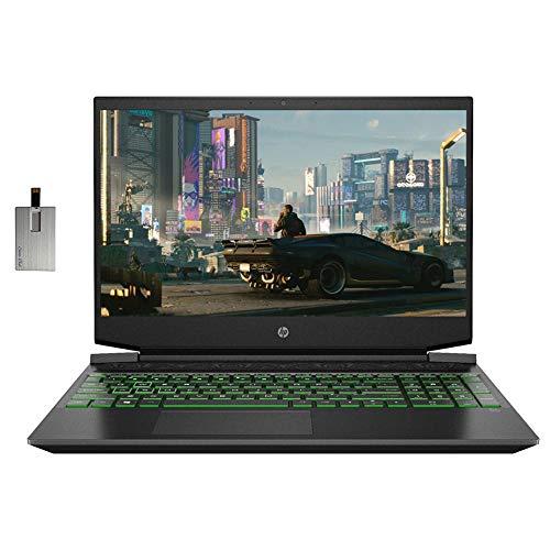 """2021 HP Pavilion 15.6"""" FHD Gaming Laptop Laptop Computer, AMD Ryzen 5-4600H, 16GB RAM, 1TB HDD+256GB SSD, Backlit Keyboard, B&O Audio, HD Webcam, GeForce GTX 1650, Win10, Black, 32GB SnowBell USB Card"""
