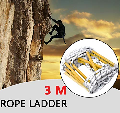 GBHJJ Touw Ladder, Emergency Escape Ladder, Nylon Touw Ladder, Emergency Escape Way voor kinderen en volwassenen ontsnappen uit ramen en balkons 3M