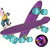 Monopatín Completo Mini Cruiser Skateboard para niños Adultos jóvenes, 55 cm monopatín Completo de Crucero para niños niñas, Mini Monopatín Retro Patinete con Ruedas con Luces (Violeta)