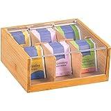Kesper–Caja para bolsitas de té (Madera de bambú, Color marrón, 22x 21x 9,5cm