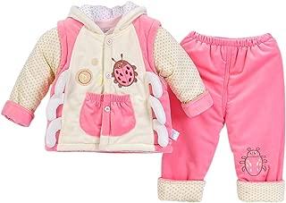 DAZISEN Newborn Baby Toddler Winter Vest & Tops & Trousers 3 Pcs Outfits Set