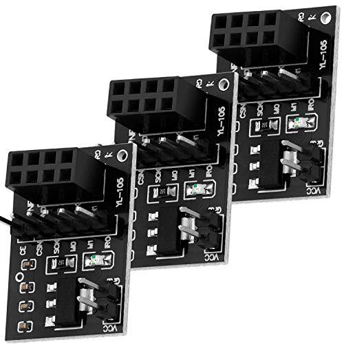 AZDelivery 3 pcs NRF24L01 Adaptador para NRF24L01 RF Modulo Transceptor Inálambrico 2.4 GHz 3.3V con 8 pines con E-Book incluido!