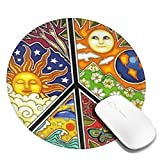 Nature Peace Sign Round Mouse Pad Customized Non-Slip Fashion Design Mousepad for Computers Laptop Office & Home 7.9'/200mm