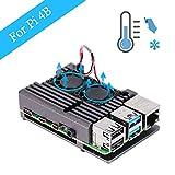 ZkeeShop Caja de Aluminio con Doble Ventilador de refrigeración Compatible para Raspberry Pi 4 Model B (No Incluye Raspberry Pi Board) (Gris with Dual Fan)