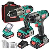 <span class='highlight'>Cordless</span> Drill Kit, <span class='highlight'>HYCHIKA</span> 35Nm Drill Driver and Impact Driver 160Nm, 2X1.5Ah Batteries, 21 1 Torque Setting, LED Light, Variable Speed, Belt Buckle, LED Light, <span class='highlight'>with</span> 29PCS Accessories and Tool Bag