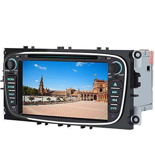 AWESAFE Radio Coche 7 Pulgadas para Ford con Pantalla Táctil 2 DIN, Autoradio de Ford con Bluetooth/GPS/FM/RDS/CD DVD/USB/SD, Admite Mandos Volante, Mirrorlink y Aparcamiento (Negra)