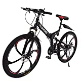 26 Inch Dual Disc Brakes Mountain Bike, Folding Mountain Bikes for Youths and Adults, 21 Speed ​​Gears Full Suspension MTB Bikes, Lightweight Iron Frame