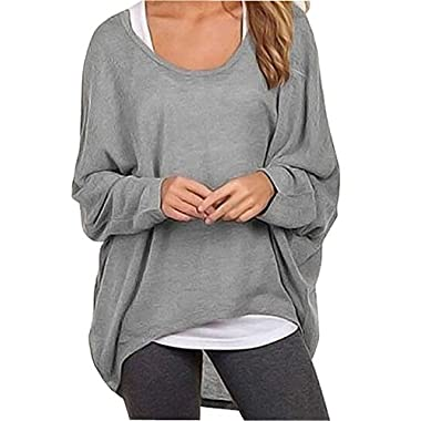 UGET Women's Casual Oversized Baggy Off-Shoulder Shirts Pullover Tops Asia S Gray