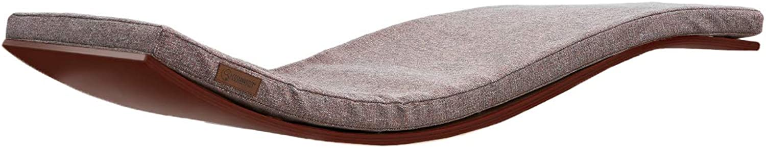 COSY AND DOZY Exclusive Cat Shelf   Designer Cat Furniture   Wall Mounted Cat Bed   Floating Cat Seat   Maine Coon Bed   90 x 41 cm   ELEGANT pink Grey cushion (Walnut)