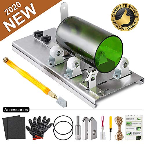 Glass Bottle Cutter Kit, Bottle Cutter DIY Machine for Cutting Round, Square, Oval Bottles and Mason Jars, with Pencil Glass Cutter Tool Kit Gloves Fixing Rubber Ring Hemp Rope Sanding Paper for DIY