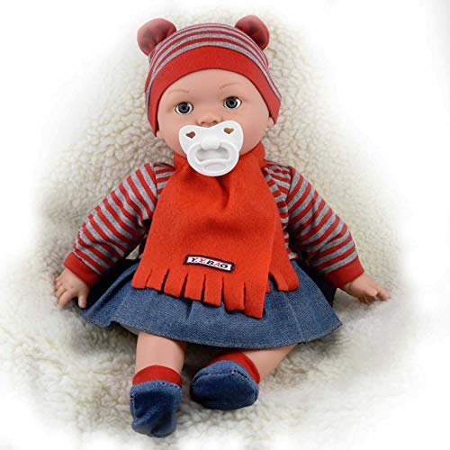 The Magic Toy Shop 16' Realistic Lifelike Baby Dolls With Freckles Soft Body Vinyl Doll with Sounds and Dummy (Girl Doll)