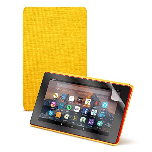 Fire HD 8 Essentials Bundle including Fire HD 8 Tablet with Alexa, 8' Display, 32 GB, Red - with Special Offers, Yellow Amazon Case, and NuPro Screen Protector Kit (2-pack)