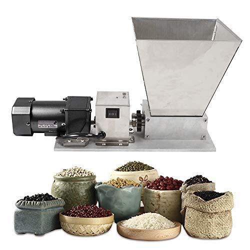 Electric Grain Grinder, Stainless Steel Grain Mill Barley Grinder Malt Crusher 2 Roller Dry Cereals Grain Grinder Home Brew Mill 110V 60W