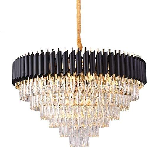 Risjc Pendiente cristalino moderno de la lámpara de la lámpara de cristal K9 Pantalla de techo accesorio ligero E14 Negro de lujo Comedor colgantes Suspensión luces LED Iluminación for el hoga