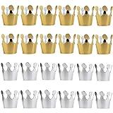 gotyou 20 Pezzi Cappello da Festa di Compleanno,Cappello da Festa King Crown,Puntelli per Foto di Baby Shower per Feste di Compleanno,Decorazioni per Feste di Compleanno per Bambini,Oro,Argento