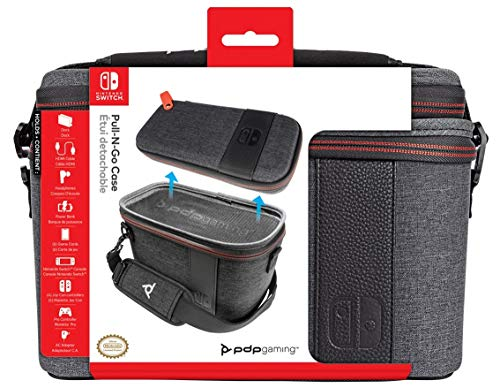 PDP Gaming Pull-N-Go Travel Case   Elite Edition   2-in-1 with Removable Compartments: Grey - Nintendo Switch