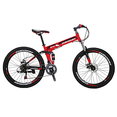 Folding Bike G4 21 Speed 26 Inches Wheel Mountain Bicycle Red