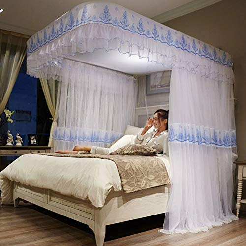 New GE&YOBBY Retractable Bed Canopy,Guide Rail Encryption Yarn Mosquito Net Embroidery Bed Canopy U-...
