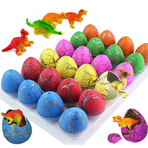 iGeeKid 24Pcs Dinosaur Eggs Easter Hatching Egg Toys Grow in Water Pool Dive Toys Science Kits Crack Novelty Toy Mini...