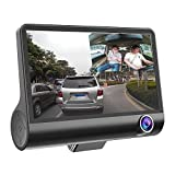 Zibuyu 4 Inches 1080P Hd 170'° 3 Lens Car Dvr Dash G-Sensor Recorder+Rearview