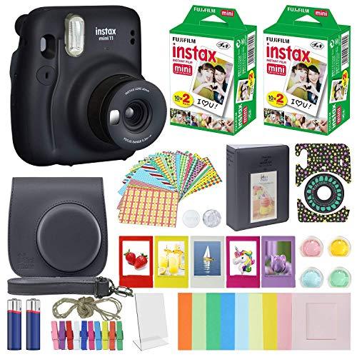 Cámara instantánea Fujifilm Instax Mini 11 + paquete de accesorios MiniMate + paquete de película Fuji Instax (40 hojas), paquete de accesorios, filtros de color, álbum, marcos (gris carbón, embalaje estándar)