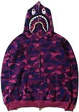 Bape shark Hoodie, lange mouw Unisex Printed Graffiti Sweatshirts met rits, Verhoog de koele waarde met 100%
