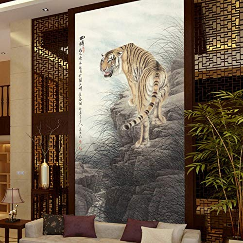 Apoart 3D Papel Pintado Mural Personalizado Personalizado Súper Claro Dominante Tigre Entrada Fondo Pared Restaurante Salón Papel Tapiz Mural300Cmx210Cm