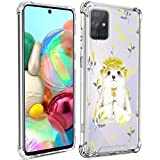 Samsung Galaxy A71 Case Clear Crystal Cute Bear Design Hard PC+Soft TPU Environmentally Material Protective Case Non-Slip Protection 4 Shockproof Corners for Samsung Galaxy A71