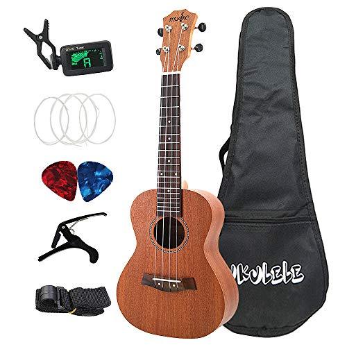 Nrpfell Sapele Konzert Ukulele Kits 23 Zoll 4 Saiten Hawaiian Gitarre mit Tasche Tuner Capo Gurt Stings Picks Musik Instrument