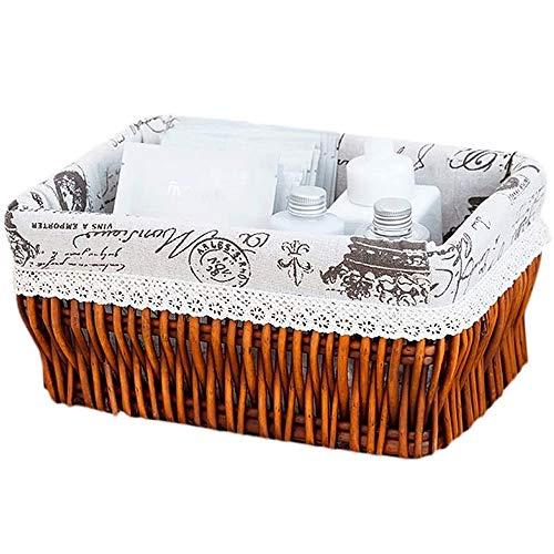 SHUSHI Home-ever Natural Wicker Rectangle Deep Storage Basket for Bedroom Home Kitchen storage (Medium - L 44 X W 34 X H 21cm) (Size : 27 * 17 * 13cm)