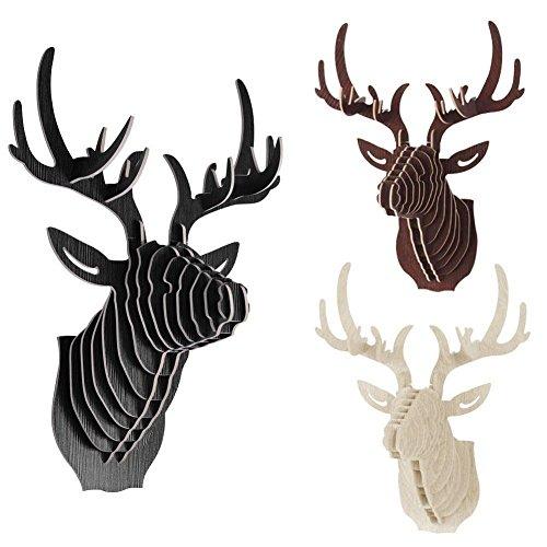 インテリア 3D 木製 鹿モデル 壁掛け 動物 野生動物 頭部 彫刻 装飾 選ぶ - ブラウン