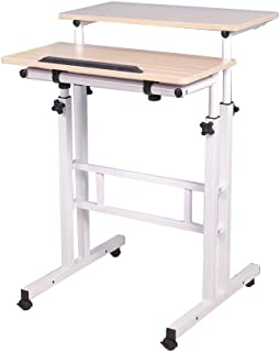 sogesfurniture Height Adjustable Stand up Desk Computer Stand Desk Home Office Desk with Standing and Seating,Maple BHUS-1...