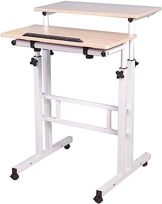 Soges Adjustable Mobile Stand Up Desk Computer Desk Workstation Sit-Stand Desktop Standing Desk, White Maple Color 101-MP