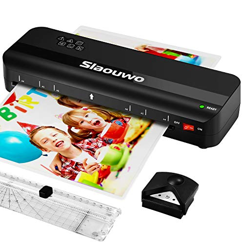 Laminator Machine, Slaouwo A4 Thermal Laminator Machine with 20 Laminating Pouches, 4 in 1 Portable Laminator with Paper Trimmer and Corner Rounder, 9 Inches Personal Laminator for Home School Office