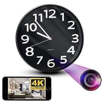 NinjaPro 2-in-1 Hidden Camera Clock with 4K HD Video Capturing Motion Detection and Live Wireless App Access Smart Surveillance Camaras Espias Ocultas Nanny Cam Spy Camera Wall Clock
